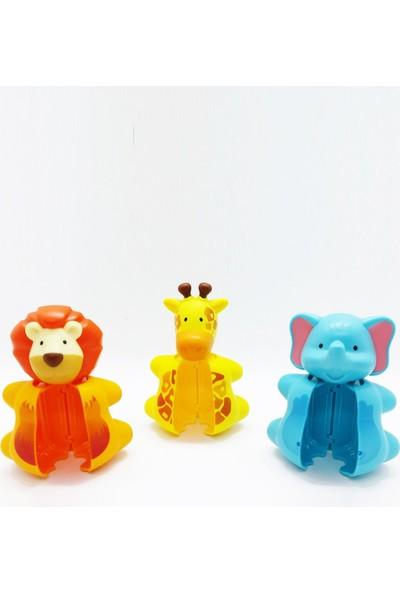 Flipper Otomatik Kapaklı Diş Fırçası Hijyenik Saklama Kabı 3lü Set - Fil / Aslan / Zürafa Figürlü