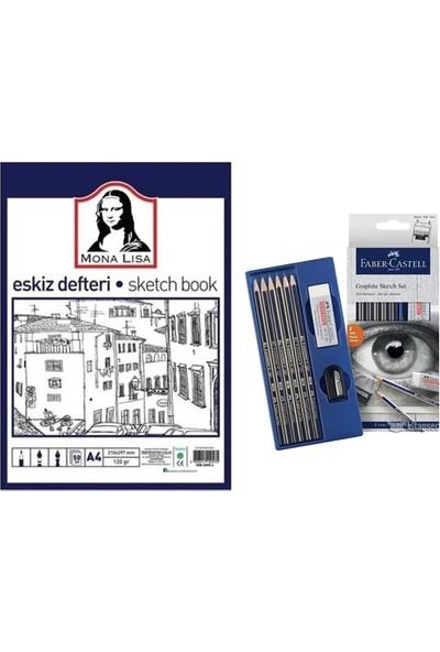 Mona Lisa A4 Eskiz Defteri + Faber-Castell Dereceli Kalem Seti