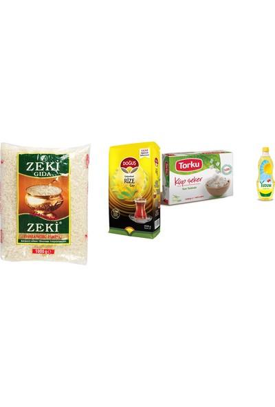 Yudum Ayçiçek Yağı 1 kg + Torku Küp Şeker 1 kg + Doğuş Çay 1 kg + Zeki Osmancık Pirinç 1 kg