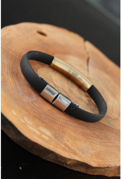Jewella Metal Taçlı Tasarım Silikon Erkek Bileklik