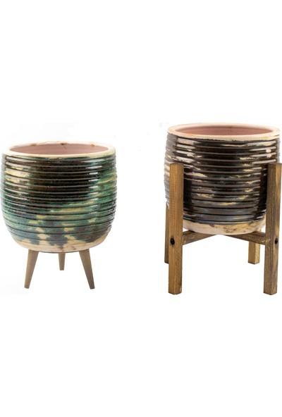 Bitki Tasarımı Yeşil Sırlı Model Toprak Saksı-Ikili Set-Terracota-19 cm Çap