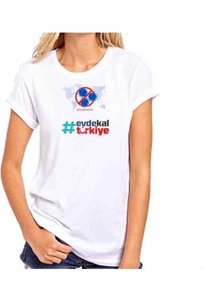 Hediye Panayırı Ilginç Tasarım Tshirtler Serisi No Corona Virus Evde Kal Türkiye Baskılı Tişört
