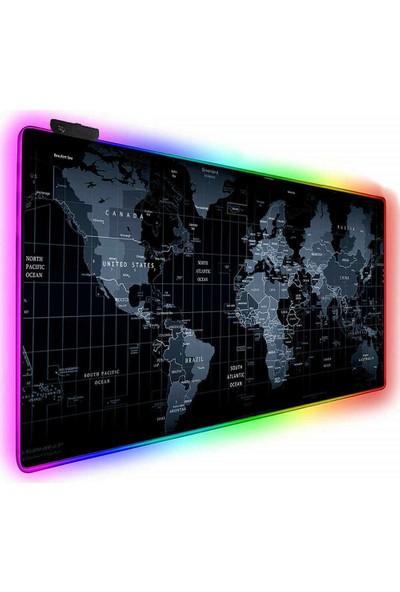 Cyber Dünya Desenli 78 x 30 cm Rgb Işıklı Mouse Pad World Map