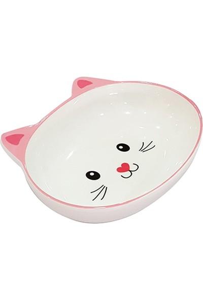Pet Loves Melamin Mama Kabı Kedi Suratı Şeklinde Pembe 300ML