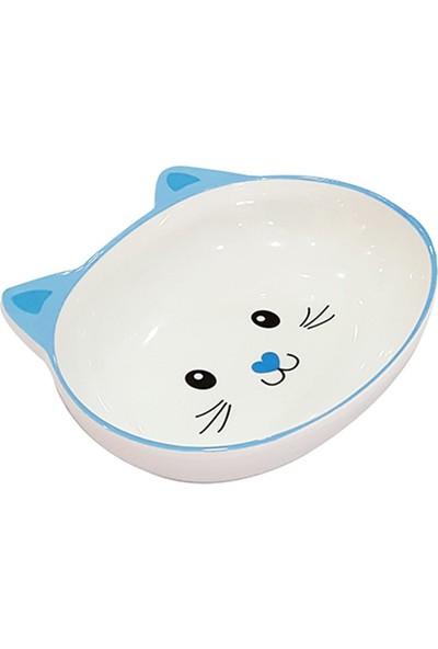 Pet Loves Melamin Mama Kabı Kedi Suratı Şeklinde Mavi 300 ml