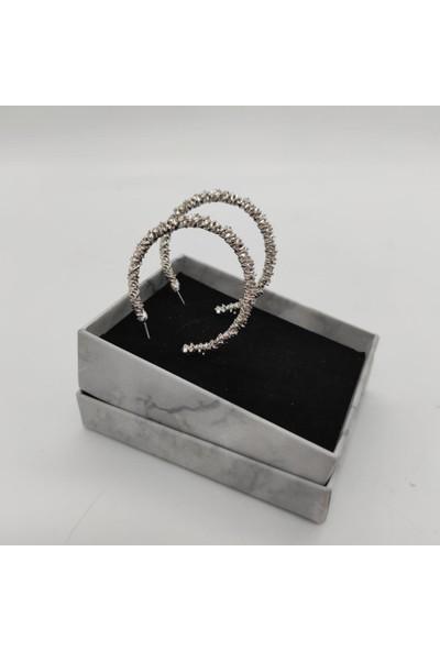 Tarz Toka Silver Tırtıklı Halka Küpe KPHLK0008