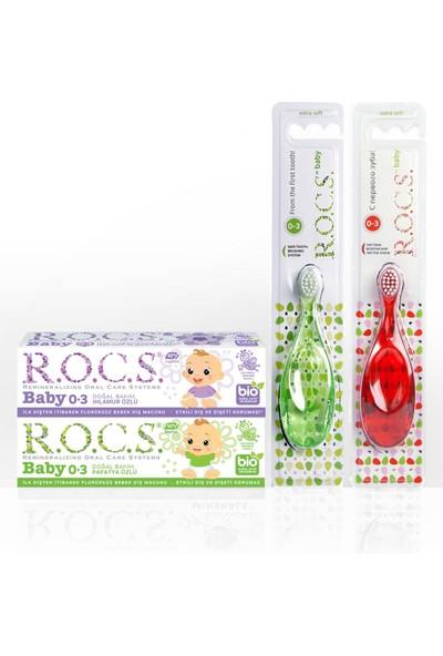 Rocs R.o.c.s. Rocs Baby 0-3 Yaş Diş Ağız Bakım Seti - 2 Diş Macunu ve 2 Diş Fırçası (Kırmızı/yeşil) 4x-Rocs-Baby