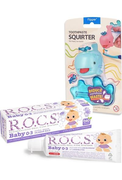 Rocs R.o.c.s. Baby 0-3 Yaş Ihlamur Özlü Diş Macunu ve Diş Macunu Sıkacağı Seti – Mavi