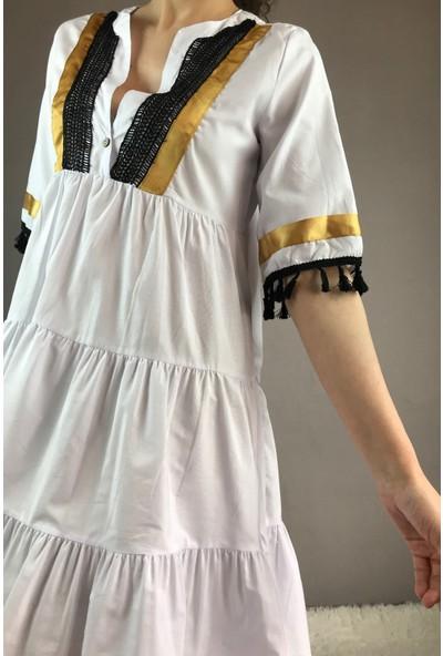 Zoom Kadın Beyaz Kol Detaylı Gömlek Elbise