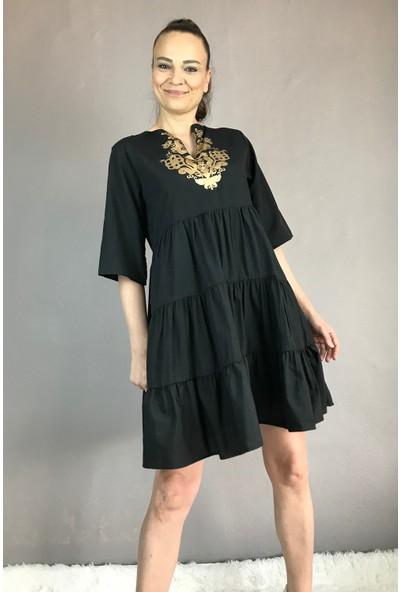 Zoom Kadın Ön Detaylı Gömlek Elbise