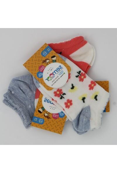 Semoor Pikotlu Çiçek Patik Kız Çocuk Çorap 3 Çift