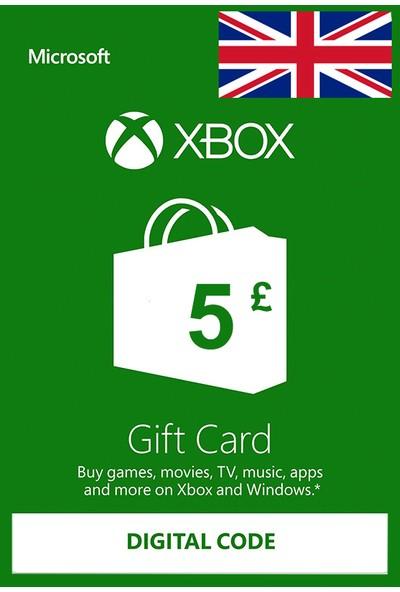 Xbox Live Gift Card 5 GBP / 5 POUND (UK) United Kingdom