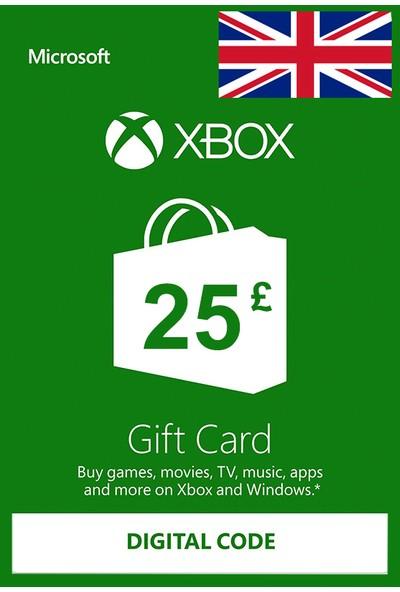 Xbox Live Gift Card 25 GBP / 25 POUND (UK) United Kingdom