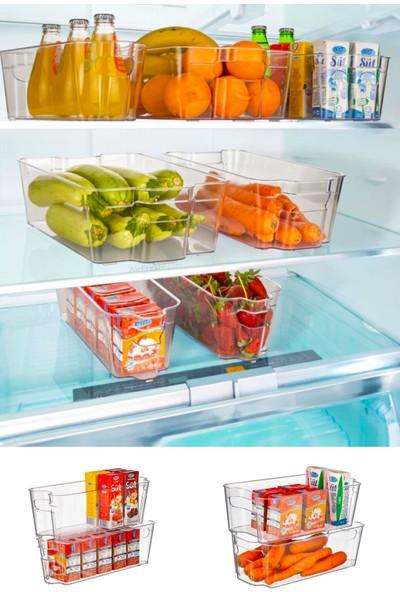 Ferhome Buzdolabı Dolap İçi Düzenleyici 2'li Set Mutfak Sepeti Organizer