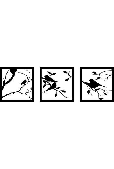 3K Dekoratif Ahşap Üçlü Bahar Dalı Duvar Süsü / Mdf Ahşap Tablo