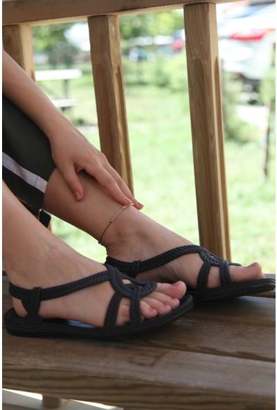 Kaşgar Örgü Desenli Kaymaz Taban Yazlık Deniz Havuz Plaj Kadın Sandalet Terliği Siyah