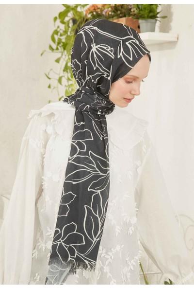 Fresh Scarfs Çizgisel Çiçek Desen Şal Siyah