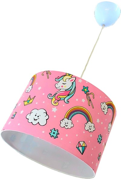 Uyumamy Unicorn Avize Abajur Bebek Çocuk Odası Aydınlatma Pembe Sarkıt