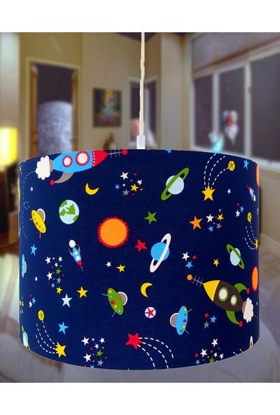 Uyumamy Galaksi Uzay Avize Abajur Bebek Çocuk Odası Aydınlatma Lacivert Sarkıt Işık