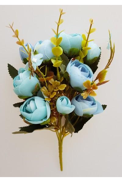 adresiYapayÇiçek Yapay Çiçek 5 Dallı Yumru Gül Demeti 30 cm Mavi