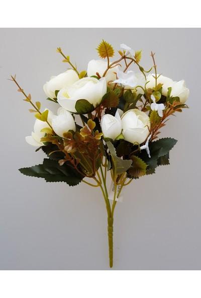 adresiYapayÇiçek Yapay Çiçek 5 Dallı Yumru Gül Demeti 30 cm Krem