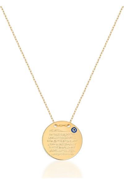 Coşar Silver Ayetel Kürsi Dualı Nazar Boncuk Desenli Altın Kaplama 20 mm Yuvarlak Gümüş Kolye