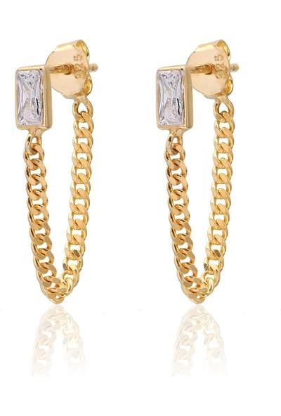 Coşar Silver Zirkon Taşlı Pırlanta Montür Taşlı Gurmet Zincirli Altın Kaplama Taşlı Gümüş Küpe
