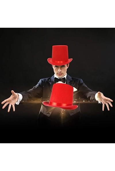 Samur Yetişkinler Için Kırmızı Renk Ringmaster Sihirbaz Şapkası Fötr Şapka
