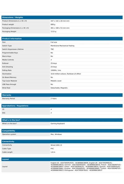 Aoc GK200S Türkçe Rgb Mekanik Hisli Gaming Klavye (GK200S38T)
