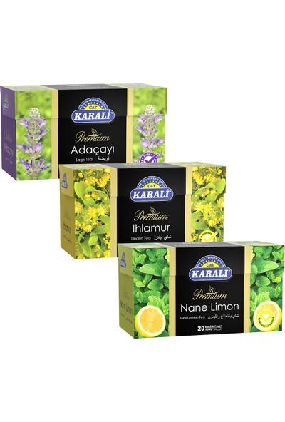 Karali Çay Bardak Poşet Bitki Çayı Kış Paketi 20 Poşet 3'lü