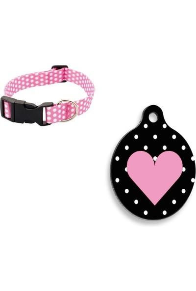 The Passage Desenli Ayarlanabilir Köpek Boyun Tasması M Boy 25-40 cm Pembe+Pembe Kalp Yuvarlak Şekilli Kedi ve Köpek Künyesi