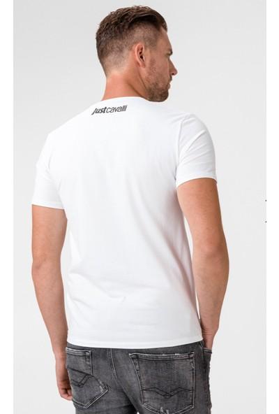 Just Cavalli Snake Print White T-Shirt