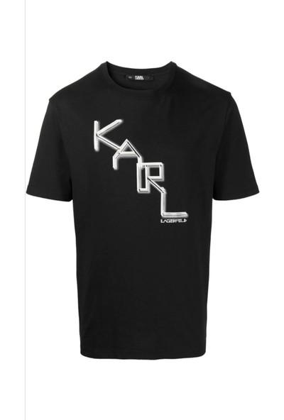 KARL LAGERFELD Karl Dıagonal Logo Black T-Shirt
