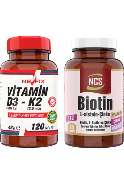 Nevfix Ncs Biotin L Sistein Çinko 60 Tablet & Nevfix Vitamin D3-K2 120 Tablet