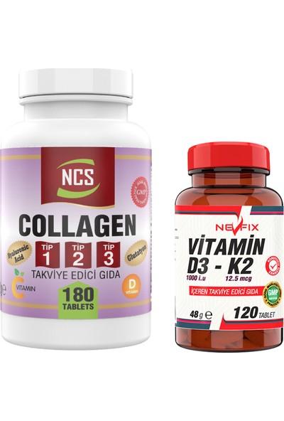 Nevfix Collagen Type (Tip) 1-2-3 Hyaluronic Acid Vitamin C Glutatyon 180 Tablet & Nevfix Vitamin D3-K2 120 Tablet
