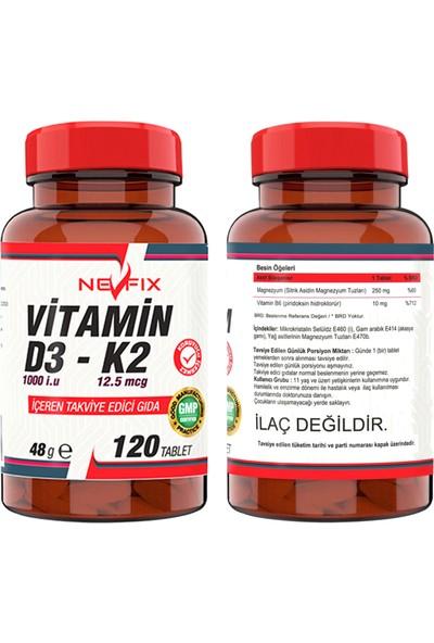 Nevfix Milk Thistle Artichoke Zerdeçal Karahindiba Zencefil Maydanoz Deve Dikeni Enginar 180 Tablet & Nevfix Vitamin D3-K2 120 Tablet