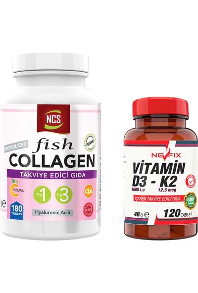 Nevfix Balık Kolajen Type 1-3 Çinko Collagen Hyaluronic Acid 180 Tablet & Nevfix Vitamin D3-K2 120 Tablet