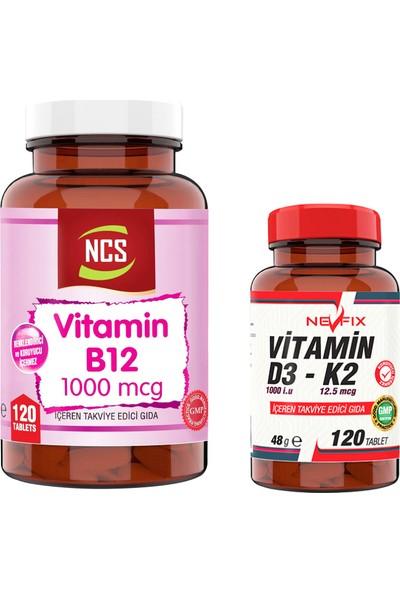 Nevfix Vitamin B12 1000 Mcg 120 Tablet & Nevfix Vitamin D3-K2 120 Tablet