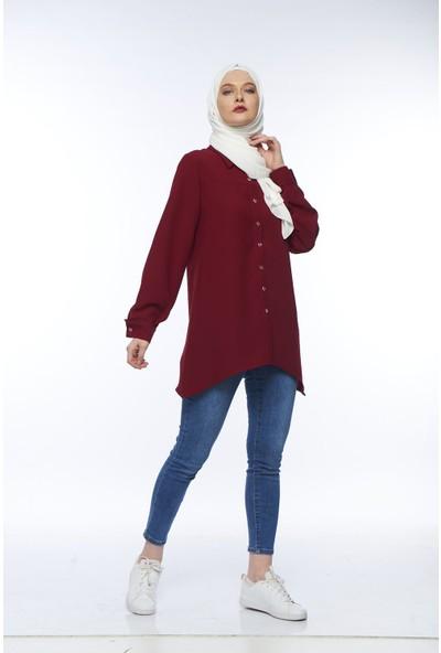My Veil Kadın Yanları Asimetrik Kesim Düğmeli Tunik Gömlek
