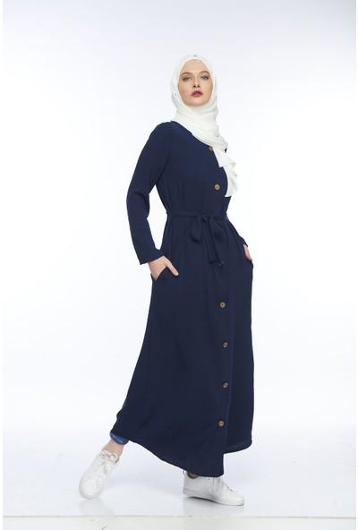 My Veil Ahşap Düğmelerle Açılan Uzun Elbise