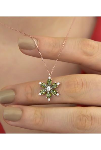 Ervanur Rose Altın Kaplama Yeşil Taşlı Kamelya Çiçeği Kadın Kolye