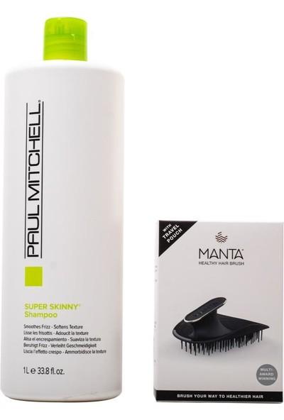 Paul Mitchell Super Skinny Şampuan 1000 ml + Manta Esnek Black/gold Saç Fırçası