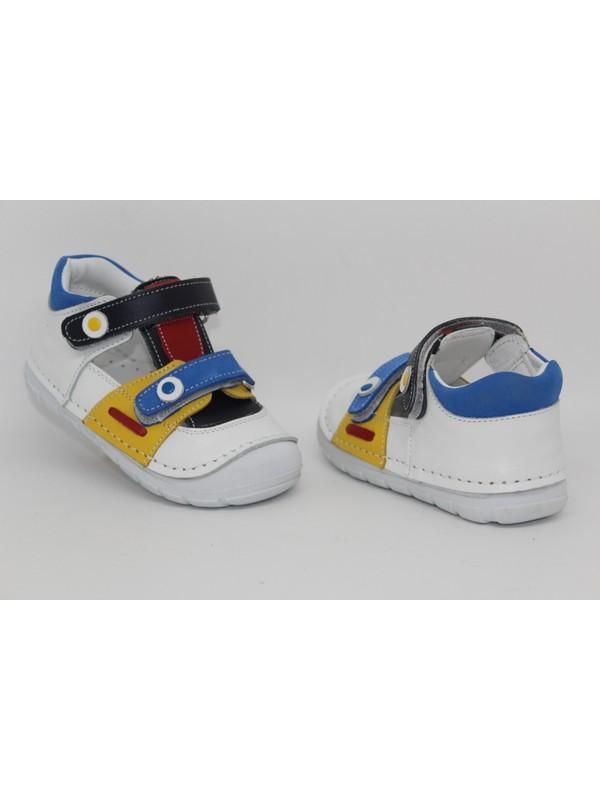 Rüzgar Bebe Macro Beyaz Ilk Adım %100 Deri Ortapedik Erkek Bebek Sandalet Yürüyüş Ayakkabısı