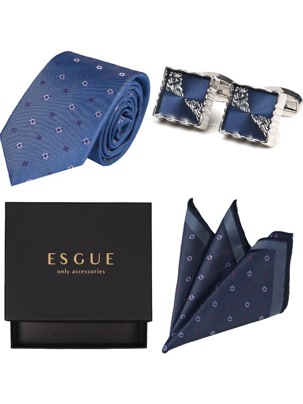 Esgue Kol Düğmesi & Kravat & Mendil Hediye Seti 10 Farklı Renk