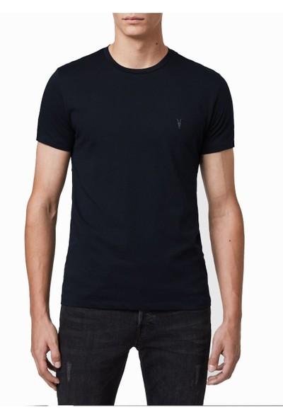 All Saints Lacivert Renk %100 Pamuk Kısa Kol Bisiklet Yaka Tshirt