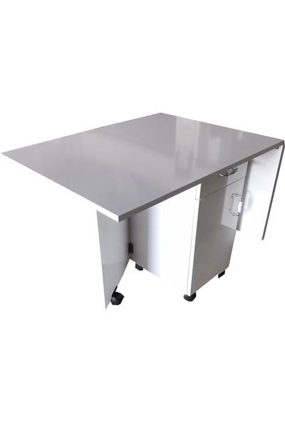 Kadir Leylek Katlanır Dolaplı Yemek Masası Beyaz