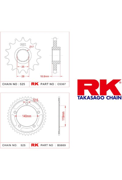 RK Bmw F 900 Xr Rk Ön Arka Dişli 525 - 17/44 T(2020-2020)