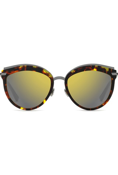 Dior OFFSET201K57 Bayan Güneş Gözlüğü Kahverengi & Gümüş Metal Çerçeve Aynalı Lens UV400 Pembe Sap