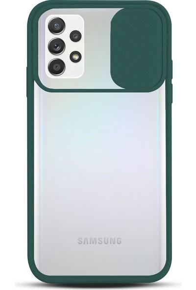 Zebana Samsung Galaxy A72 Kılıf Kamera Lens Korumalı Kılıf Yeşil