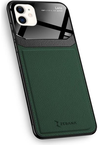 Zebana Apple iPhone 12 Kılıf Zebana Lens Deri Kılıf Yeşil